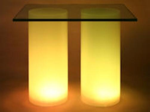 2 x Acrylröhre satiniert mit Beleuchtung D: 15cm, H: 36cm mit Glasplatte 42 x 34cm