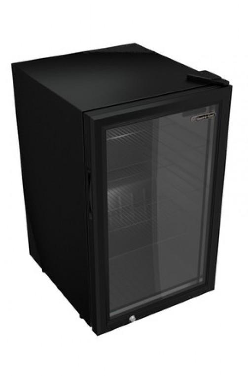 Kühlschrank, Glastür, 62 l, schwarz mit LED Beleuchtung