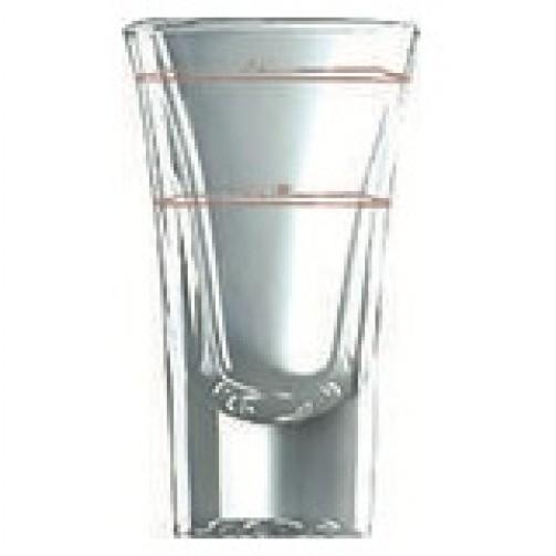 Schnapsglas, Stamper hoch 5,7cl, mit Eichstrich 2 + 4cl