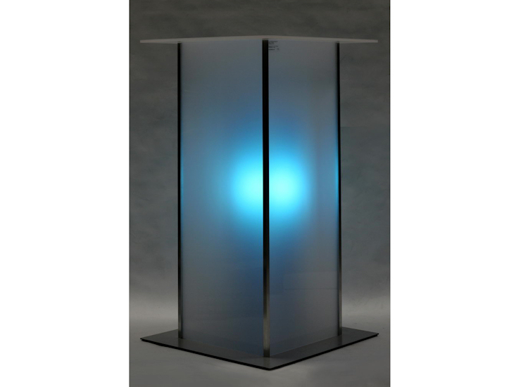 Stehtisch *alpha* 60 x 60 cm,  Beleuchtung mit Akku, Farbe blau