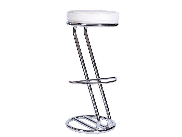 Barhocker, Chromgestell, weißer Sitz