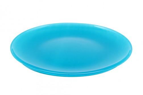 fl. Eßteller, blau, Glas 27cm Ø