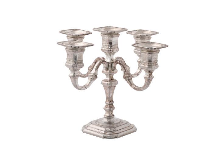 Kerzenleuchter, Line, 5-flammig, versilbert, 17,5 cm hoch