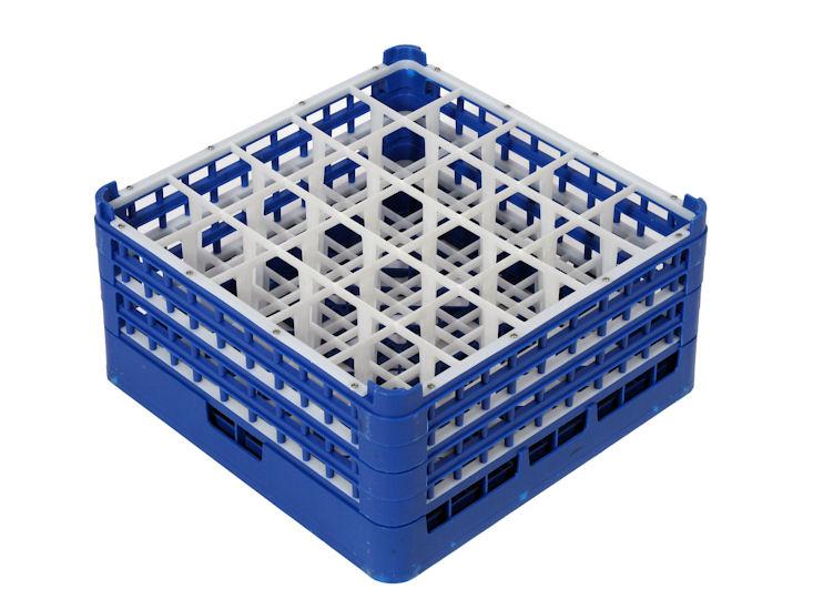 Gläserrack 25 er Unterteilung, Fachgröße 9 x 9 cm, H: Glas max. 23,9 cm