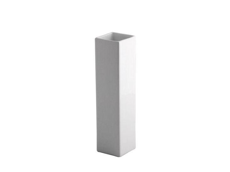 Vase, weiß, 6 x 6 x 25 cm hoch
