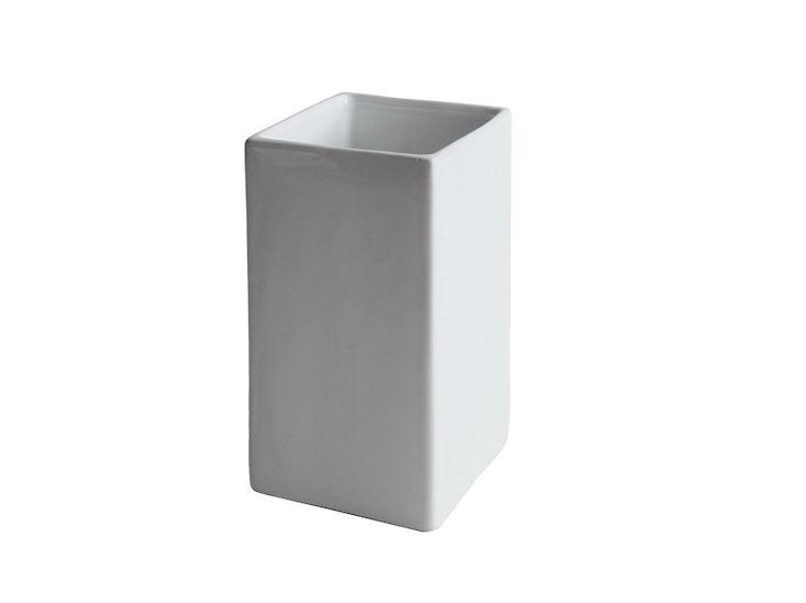 Übertopf, weiß, 8 x 8 cm, Höhe 16 cm