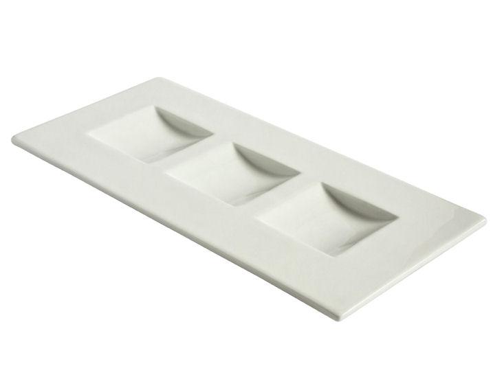 Rechteckige Platte, 38 x 18 cm, 3 Einlassungen, Thyme