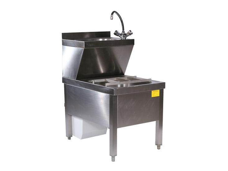 Handwasch- / Ausgussbeckenkombination, mit 5 l Warmwasserspeicher
