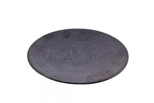 fl. Eßteller, Kaori, 27,5 cm Ø, Rochen Optik, schwarz / metallic
