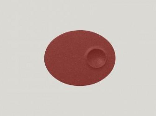 ovaler Teller mit 1 Einlassung, 18 x 11 cm, dunkelrot Neo Fusion