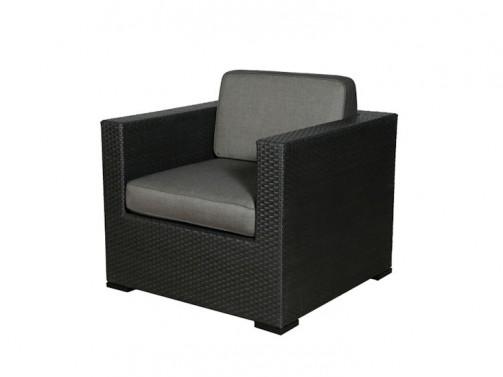 Loungesessel Sorrento, schwarz, Kunststoffgeflecht, incl. Sitz- und Rückenpolster anthrazit