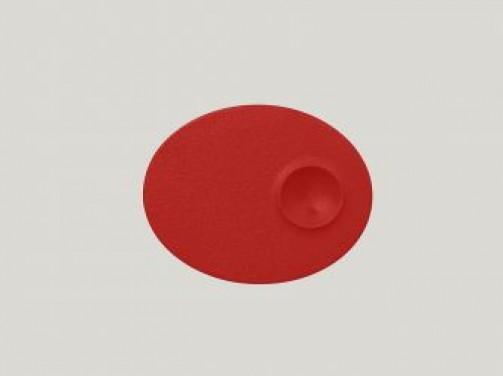 ovaler Teller mit 1 Einlassung, 18 x 11 cm, rot Neo Fusion