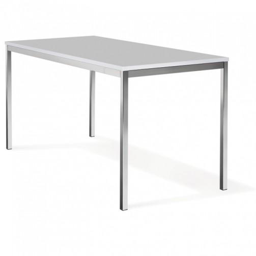 Konferenztisch, graue Holzplatte mit Chromfüßen, 1,20 x 0,80 m