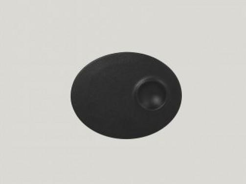 ovaler Teller mit 1 Einlassung, 18 x 11 cm, schwarz Neo Fusion